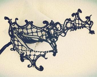 Black Venice Lace Mask/Ball Mask/Eye Veil Costume/Face Lace Masks/Prom-Party-Theater mask/Embroidery Lace Mask, Half Mask,One Eye Mask MJ21