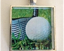 GOLF IMAGE NECKLACE    Image on Glass handcrafted by Andrea Comsky