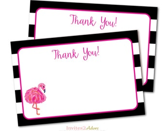 Flamingo Thank You Card - Black and White Stripe Thank You Note -  INSTANT DOWNLOAD