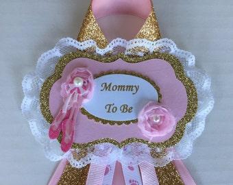 Ballerina baby shower corsage/Mommy to be corsage/Daddy to be corsage/Ballerina baby shower corsage set