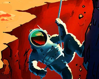 "Retro MARS NASA  Poster  ""Explorers Wanted"" Many Sizes Available"