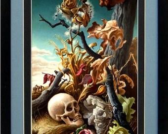 Thomas Hart Benton Landscape Art Skull Custom Framed A+ Quality