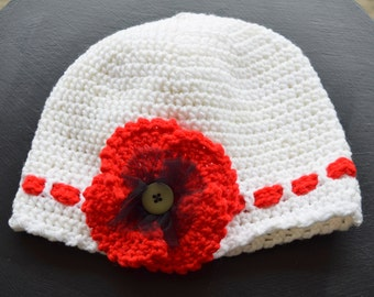 Adult Crochet Hat Red Remembrance Poppy