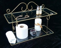 Hollywood Regency Bathroom Shelf, Gold Scroll Iron & Glass Vanity Shelves, Toiletries + Cosmetics Storage, Cottage Chic French Country Decor