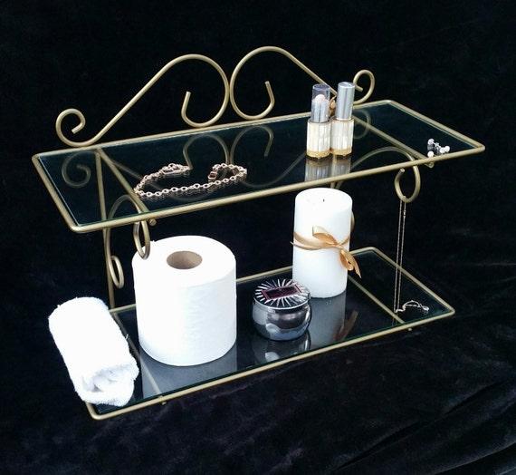 Hollywood Regency Bathroom Shelf Gold Scroll Iron Glass