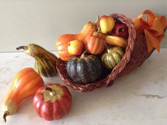 Thanksgiving cornucopia gourd centerpiece fall