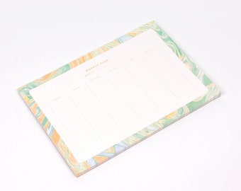 Weekly Planner Pad Water Marble Green and Orange Desk Notepad