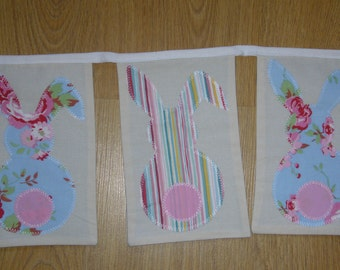 Easter bunny bunting, bunny bunting, Easter bunting, Easter decoration, hand made appliqued bunting in pastels colours, bunting for nursery
