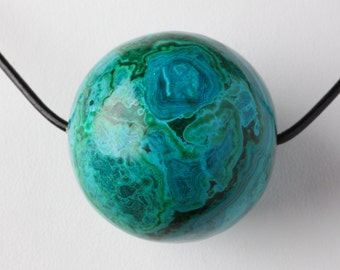 Large Natural Chrysocolla Sphere Pendant