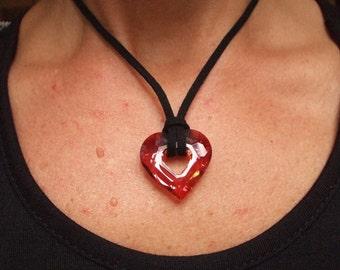Red Swarovski crystal heart necklace, black suedette and Magma red open crystal heart necklace unique Mothers Day gif Swarovski jewelry gift