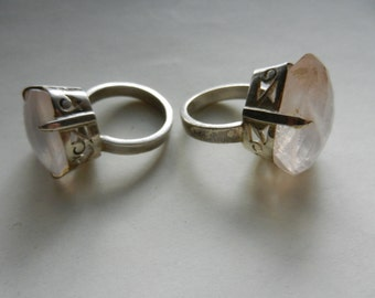 Two Large Sterling Silver Rose Quartz Rings