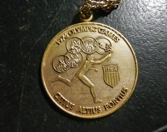 1976 Olympic Games Pendant Medalion Medal With Chain Vintage