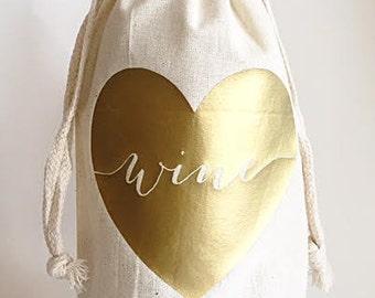 Custom wine bag- Wine bags- Love wine bag- Gift bags- Champagne bag- Hostess gifts- Host gift