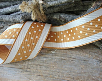 Antique Gold and Cream Grosgrain Ribbon with Polka Dots