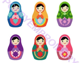 babushka doll embroidery machine  designs  /poupee russe pour broderie machine / instant download