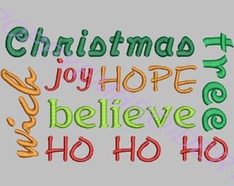 TEXT christmas words  machine embroidery designs set  /  texte mots noel motifs pour broderie machine / INSTANT DOWNLOAD