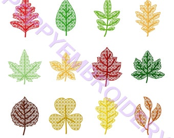 LEAVES lace Design for Embroidery machine  /  feuille dentelle motifs pour broderie machine / instant download