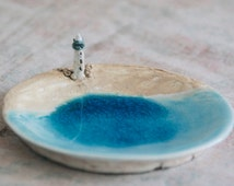 Ceramics and pottery/Ceramic Lighthouse Dish/ product / Sea / gift / poems about the sea /