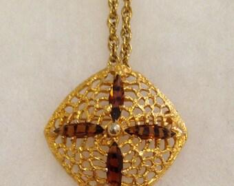 Vintage S.H.P. INC Ornate Citrine Navette Rhinestone Pendant Brooch Necklace on Chain