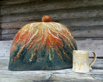 Felt Teapot Warmer, Felted Tea Pot Cover, Autumnal Tea Cozy