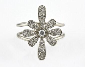 0.37ct Bezel Micro Pave Diamonds in 14K White Gold Daisy Flower Ring - CUSTOM MADE
