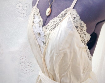 Tea stained vintage inspired silk boho wedding dress