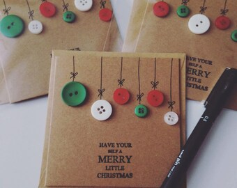 Christmas card with button baubles on brown kraft card