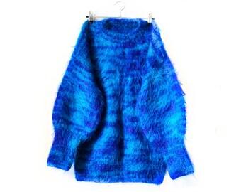 80s jumper sweater - vintage handmade fluffy knit 80s jumper sweater