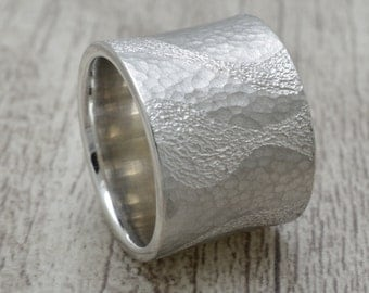 Silver ring, friendship ring, 18 mm wide band ring