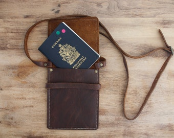 Leather passport pouch, cross body bag, phone case, distressed leather, made in PEI