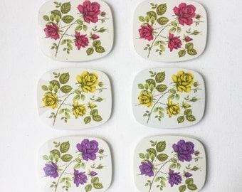 Vintage Melamine Coasters, Set of 6, Retro Rose Design Drinks Mats, Floral Coasters, 1950s - 1960s, 01260