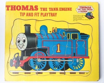 Thomas the Tank Engine Tip and Fit Playtray, Vintage Thomas 6 Piece Wooden Jigsaw Puzzle, Michael Stanfield, 1984, 00333