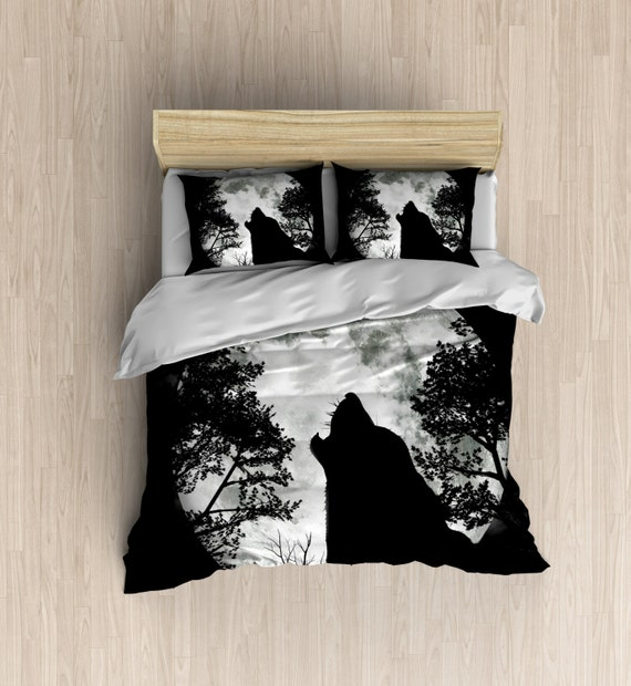 Wolf Moon Bedding Wolf Silhouette Duvet Cover Moon Bedding