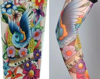 One Nylon Realistic Tattoo Sleeves stage show vivid Fake Temporary Tattoo Sleeve Arm Sleevelet  Stretchy Stockings tattoo party supplies