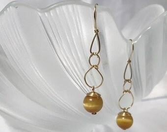 Golden Tiger Eye Quartz dangling earrings handmade with gold wire