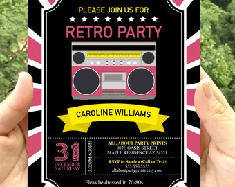 Retro themed party invitation printable-JPEG format-for personal use only-digital file
