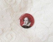 William Shakespeare glittery pinback button // 38mm diameter