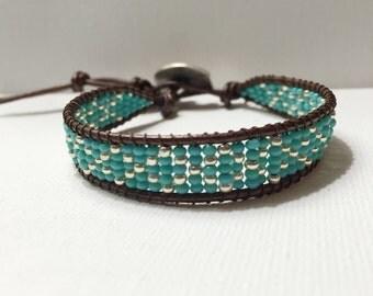 Criss-Cross Beaded Leather Wrap Bracelet