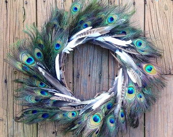 Spring Door Wreath, Peacock Wreath, Feather Wreath, Door Wreath, Peacock Decor, Peacock, Front Door Wreath, Rustic Wreath, Eccentric