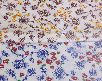 Blue/Red or Brown/Yellow Flour Sack, Feed Sack Fabric with FLAWS