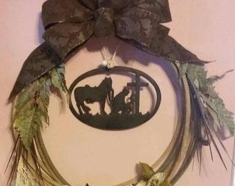 Rustic lariat wreaths