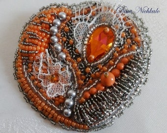 Orange Brooch Bead Embroidery Brooch Beaded Brooch Beadwork Statement Tribal Accessory Beading Large Brooch Bohemian Brooch