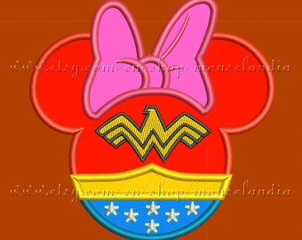 Cute wonder woman miss mouse   Applique Design for Embroidery Machines  2 sizes.   Instant Download