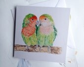 Illustrated Love Birds Greeting Card