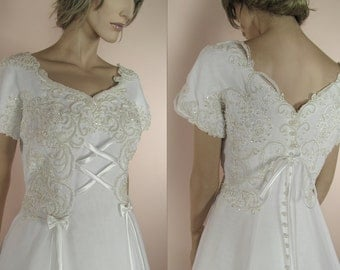 "90's Vintage Wedding Dress - ""A"" line bridal gown – Elegant wedding dress from the 1990's"