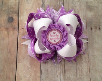 Purple Sparkle Bow, Stacked Boutique Bow, Born to Sparkle, Diva hair bow, Birthday Bow