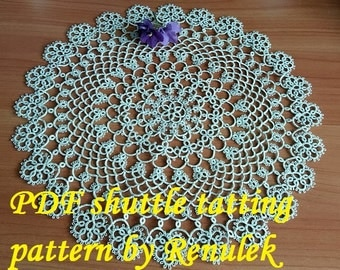 napkin DIANA. PDF Original Shuttle Tatting Pattern by Renulek Instant Digital Download. Tatting yourself gift. schemat frywolitki
