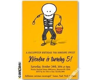 Halloween Birthday Invitation, Halloween Invitation, Boo-thday Party, Trick Or Treat, Boys, Girls, Kids Birthday Printable Invitation HL06