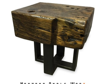 Reclaimed Montana Barn Beam End Table, Barn Wood Table, Rustic Table, Side Table
