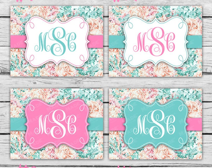 Emerald Floral Script MONOGRAM Note Card Set - Choose From 4 Designs, Stationery, Printed Stationery, Thank You Cards